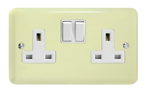 Varilight XY5W.WC Lily Pastel White Chocolate 2 Gang Double 13A Switched Plug Socket